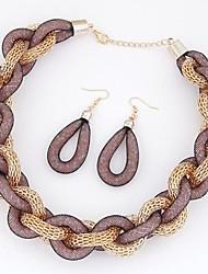 z&X® colar de corda na moda e brincos conjunto de jóias (1 jogo, 4 cores opções: azul, preto, amarelo, café)