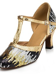 Customizable Women's Dance Shoes Modern Paillette Customized Heel Blue/Gold