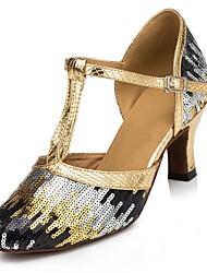 Chaussures de danse(Bleu Or) -Personnalisables-Talon Personnalisé-Paillette-Moderne