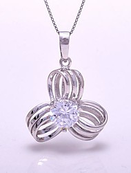 AS 925 Silver Jewelry   The flower shaped white zirconium Pendant