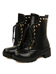 Francis Cat Women's Fashion Rivet Shoelace Short Boots 71-727 Black