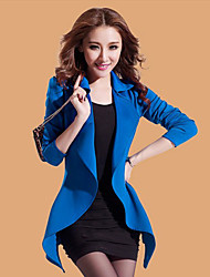 TS- Tailored Collar Two Pieces Pure Color Puff Long Sleeve Slim Coat
