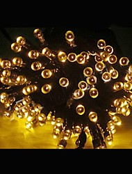 17M 100-LED Solar Powered Christmas Lights String Lamp Lndoor Outdoor Flashing Light Strip - Yellow