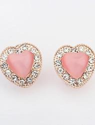 Women's Romantic Opal Beaded Rhinestone Pave Heart Shape Stud Earrings