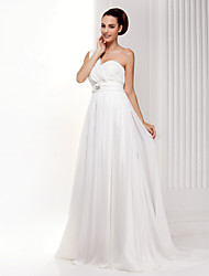 A-Line One Shoulder Sweep / Brush Train Chiffon Wedding Dress with Criss-Cross Crystal by LAN TING BRIDE®