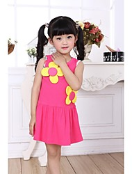 Girl's Blue / Red / Yellow Dress Cotton Summer