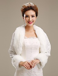 Wedding  Wraps / Fur Wraps Coats/Jackets 3/4-Length Sleeve Faux Fur Ivory Wedding / Party/Evening Open Front
