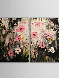 Hand Painted Oil Painting Floral Pink Flowers  with Stretched Frame Set of 2