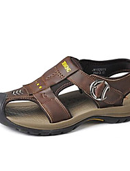 Men's Shoes Casual Faux Fur Sandals Brown/Yellow