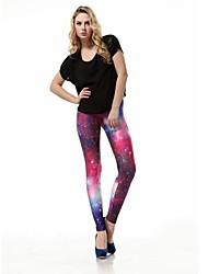Women's Fashion Prints The Milky Way Purple Printed Polyester Leggings