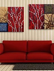 E-Home® Leinwand Kunst Zweige und Blätter dekorative Malerei Satz 2