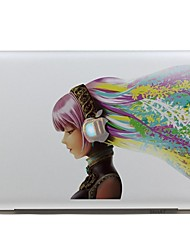 SKINAT Removable waterproof colorful music girl tablet sticker and laptop sticker for macbook Air 11,260x270mm