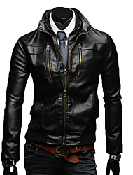 Reverie Men's Stand Collar Bodycon Faux Leather Bike Jacket