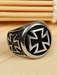 Men's Europe Personality Cross Titanium Steel Ring