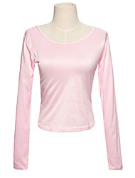 Stylish U Collar Pure Collar T-shirt Pink