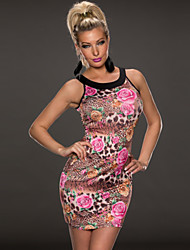 Night Rose Women's Sexy Elegant Slim Thin Leopard Strapless Dress