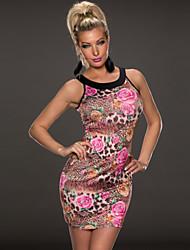 la noche se levantó sexy elegante vestido strapless de leopardo delgado delgado de la mujer