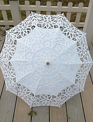 "Wedding / Beach / Daily / Masquerade Lace / Cotton Umbrella White 26""(Approx.66cm) Metal / Wood 30.7""(Approx.78cm)"