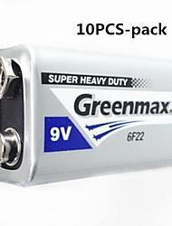 10pcs Greenmax zinco 9v bateria de carbono -manganês