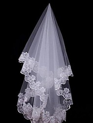 Wedding Veil One-tier Fingertip Veils / Headpieces with Veil Lace Applique Edge 59.06 in (150cm) Tulle / Lace White