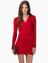 Women's Party/Cocktail Sexy Bodycon Dress,Solid Above Knee Long Sleeve Blue / Red / Black Cotton / Polyester Spring / Summer / Fall