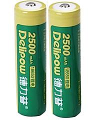 2pcs Delipow 18650 3.7v 2500mah batería de níquel-cadmio