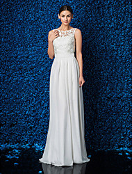 Lanting Sheath/Column Petite / Plus Sizes Wedding Dress - Ivory Floor-length Jewel Chiffon / Lace