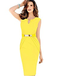 Women's Sexy Keyhole Metal Belt Pleated Sheath Dress