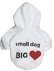 Cat / Dog Hoodie White Dog Clothes Winter Hearts