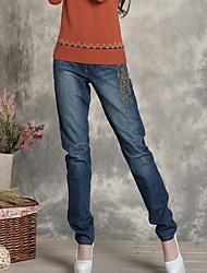 jeans rectos largos ocasionales de las mujeres