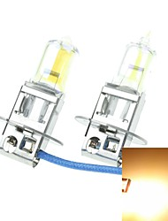 H3 PK22S 100W Plated Yellow for Car Headlights Headlights Fog Lights 12V(1 Pair of Light Bulbs)