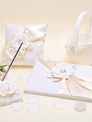 1 Collection Set Ivory Flower Basket Guest Book Pen Set Ring Pillow