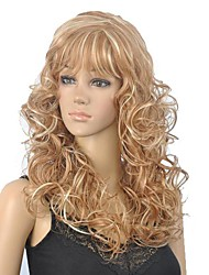 Women's Brown Mix Blonde Long Curly Wig with Full Bang