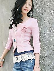 All Match Flower Embellished Cardigan Pink