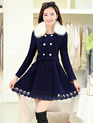 Women's Coat,Solid Long Sleeve Winter Blue / Red / Yellow Thick