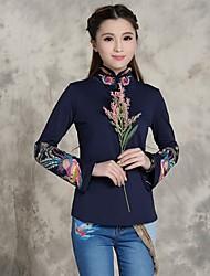 shangfei ™ moda de las mujeres del collar del soporte del estilo popular bordado camiseta (más colores)