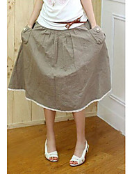 High Quality Korea Style Flax Lace Sweep Skirt Army Green