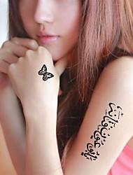 5 Pcs Black Arabic Words Heart Butterfly  Waterproof Temporary Tattoo Sticker