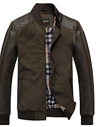 Men'S Bark Mosaic Thin Leather Jacket