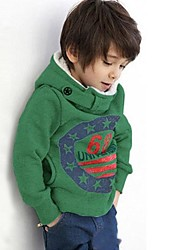 Boy's Fashion British Style Double Row Button Hooded Fleece