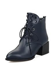 Schuhe Mode Stiefel Damenblockabsatz Stiefeletten mit Spitzen-up mehr Farben erhältlich
