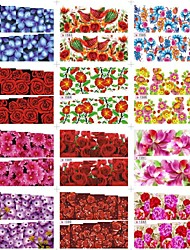 12Pcs 2D Water Transfer Nail Nails Sticks Decal With Bird Flower Pattern Mixed