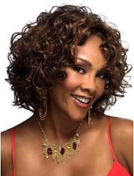 короткий парик темно-коричневого вьющиеся моды женщины