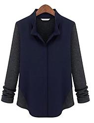 Damen Patchwork Einfach Formal Hemd,V-Ausschnitt Frühling / Herbst / Winter Langarm Grau Wolle Mittel