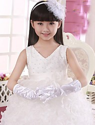 Opera Length Fingertips Glove Satin Flower Girl Gloves/Party/ Evening Gloves