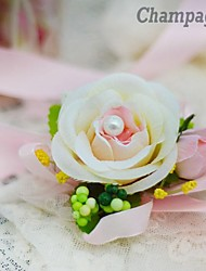 Simple Flat  Rose Bride Silk  Wedding Wrist Corsages  (More Colors)