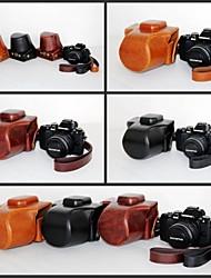 pajiatu® pu huile de cuir caméra peau étui de protection rétro pour EM10 olympus om-d e-m10 avec objectif 14-42mm