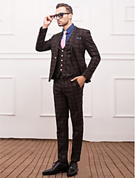 Dark Gray&Light Blue Polyester Slim Fit Three-Piece Suit