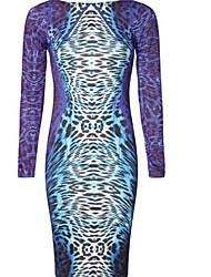 yzis Vestido ajustado de manga larga del patrón del leopardo de las mujeres