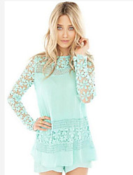 Solid Color Lace Long Sleeve Blouse